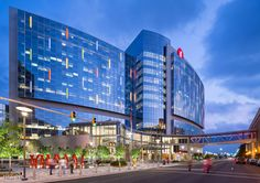 Benjamin Russell #Hospital For Children's use of glass and color on the exterior façade and throughout the #building as well as the size of the structure makes it a prominent feature of the Birmingham cityscape. Photo: HKS Inc./Blake Marvin.