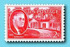 US Stamp - Franklin Delano Roosevelt, 32nd US President 1933-1945, FDR's Georgia home. Warm Springs, Georgia