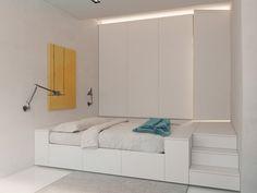 Schlafnische raumsparende Innenraum-gestaltung 3d-visualisierung-weiße einbaumöbel