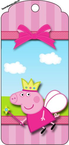 Tag Agradecimento Peppa Pig Princesa: