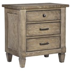 Bring timeless style to your master suite or guest room with this charming 3-drawer nightstand, featuring an aged patina finish.   ...