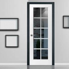 JBK DECCA WHITE PRIMED DOOR WITH ETCHED LINES ON CLEAR GLASS #glassdoor #whitedoor #directdoor