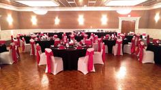 This May wedding had a ceremony, cocktail hour and reception on site! Utilizing both the Commodore Room and our Grand Ballroom for their special night. The reception in the Grand Ballroom had accents in black, white, red and silver with seating for 115 guests.
