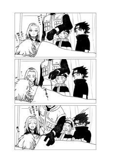 CUTE!!!!! Obito, Kakashi, Sasuke, Sakura, Naruto. Still trying to see his face.