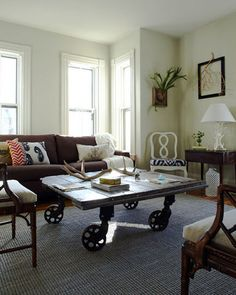 i really like these old factory cart coffee tables!