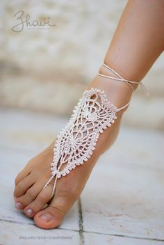 SALE 31 Bridal Foot jewelry Rhinestone Beach wedding by ZHAVI