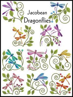 DRAGONFLIES Machine Embroidery design Set of 10, 2 sizes. $8.00, via Etsy.