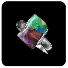 Freeform unique rectangular shaped boulder opal featuring contrasting reds, oranges and greens, set in 925 sterling silver. Ref code: 5412. Opal ring - suit ladies or gents fashion jewelry (jewellery) -this item has sold