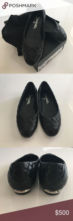 Quilted Chanel Flats The classic Chanel look. Black quilted flats with a touch of silver around the heels. Size 36 but fits a 5 1/2 perfectly. Hate to part with them but they're just too small. Excellent condition with dust bags and original box. CHANEL Shoes Flats & Loafers
