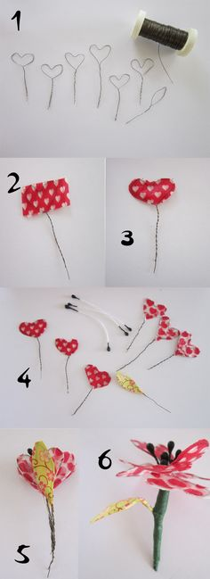 Washi tape flowers/hearts diy