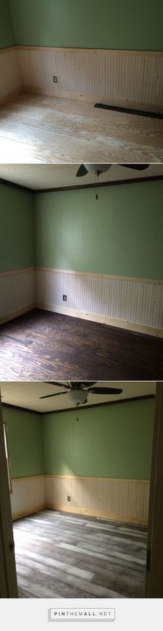 """6"""" wide plywood planks stained dark walnut, then distressed with Paper Kraft from Lowes."""