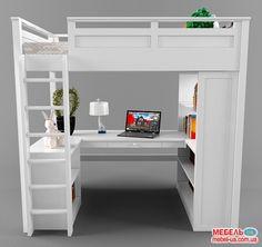 Фото: Двухярусная кровать Лофт (стол, комод, стеллаж)