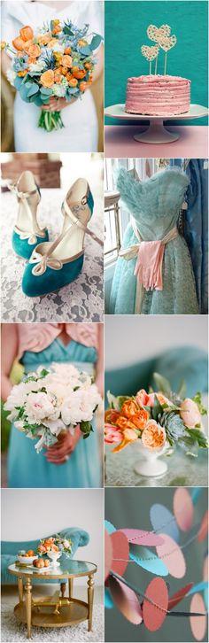 peach and teal wedding colour palette