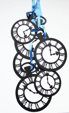 Alice In Wonderland Jumbo Pocket Watch Clock Set of by windrosie, $48.00