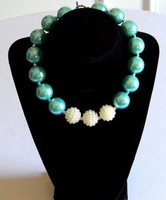 Girls Aqua Blue & Off White Boutique Necklace Chunky Bubble Bead Jewelry Summer