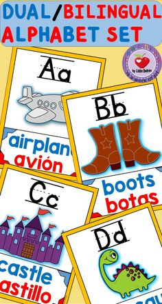 This is a full set of alphabet posters that can be used in Bilingual or Dual Language classes. One letter is featured per page including the English word printed in blue and the Spanish word printed in red together with the picture of the word Preschool Spanish, Spanish Activities, Language Activities, Preschool Activities, Preschool Alphabet, Writing Activities, Educational Activities, Teaching Resources, Bilingual Kindergarten