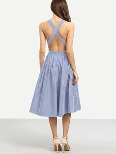 Shop Striped Criss Cross Back Swing Dress online. SheIn offers Striped Criss Cross Back Swing Dress & more to fit your fashionable needs.