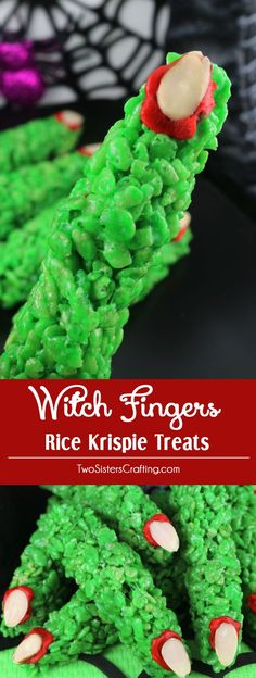 Witch Fingers Rice Krispie Treats - yummy and creepy Witch Fingers made out of crunchy, marshmallow-y Rice Krispie Cereal. Cute! Fun! Easy! This colorful and festive Halloween Dessert is a great treat for a Halloween Party. Pin this fun Halloween Treat fo