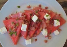 A watermelon breakfast which could also be served (smaller) as a starter Bruschetta, Watermelon, Salsa, Mexican, Fruit, Vegetables, Breakfast, Ethnic Recipes, Food