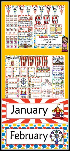 """Getting your room ready for school?   This calendar set is a great addition to anyone's Carnival Themed classroom!   I'm so excited about this packet because it is editable, and thus enables you to customize your calendar to meet your needs. When you type in the title you can also change the font and size of your text. I have included the words, """"Add text here"""" or """"edit"""" to show you where I have the editable boxes."""