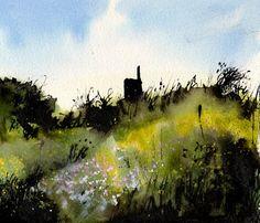 David Muddyman - Old Bessie II, Trewellard, Penwith, Cornwall - Indian ink, acrylic ink and watercolour on paper