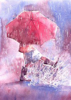 Walking in the rain - umbrellas.quenalbertini: Umbrella by Kot-Filemon on DeviantArt Art And Illustration, Watercolor Illustration, Walking In The Rain, Singing In The Rain, I Love Rain, Umbrella Art, Pink Umbrella, Rain Art, Painting & Drawing