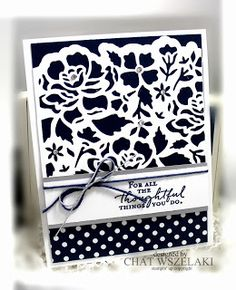 Me, My Stamps and I: Floral Phrases, Detailed Floral Thinlits Dies, Night Of Navy, Regals DSP Stack