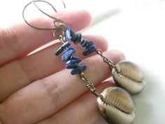 Lapis Cowry Shell Earrings Hawaiian Seashell  Blue by MindOfAsh, $28.04