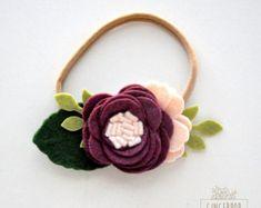 Single Felt Rose Headband or Alligator Clip - Plumb Felt Flower Headband - Baby, Newborn Photo Prop, Newborn Gift, Baby Gift, Baby Headband