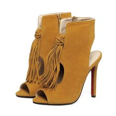 New Suede Tassel Peep Toe High-Heeled Sandals