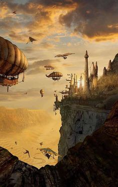 Wondering what is Steampunk? Visit our website for more information on the latest with photos and videos on Steampunk clothes, art, technology and more. Arte Steampunk, Steampunk Artwork, Steampunk Airship, Dieselpunk, Fantasy City, Fantasy Places, Fantasy World, City Art, Fantasy Setting