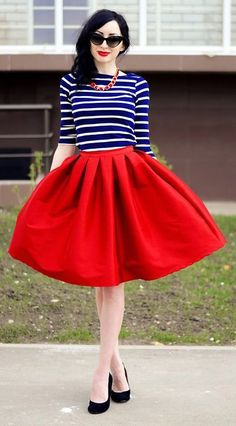 How To Wear The Midi Skirt Nautical navy stripes are a classic combo
