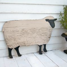 Sheep Standing Biscuit Natural and Cast Iron Black. $89.00, via Etsy.