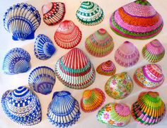 Something to do when it is too cold and windy to walk the beach...decorate seashells from your collection with ultra-fine Sharpies!