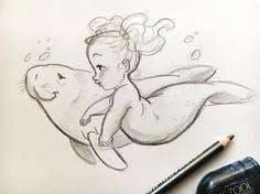 s book illustration, ocean drawing, bab Mermaid Drawings, Mermaid Art, Baby Mermaid Tattoo, Vintage Mermaid, Mermaid Tails, Mermaid Illustration, Children's Book Illustration, Illustration Children, Book Illustrations