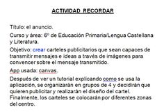 Actividad Recordar con Canva M Learning, Advertising Poster, Literatura, Activities, Messages