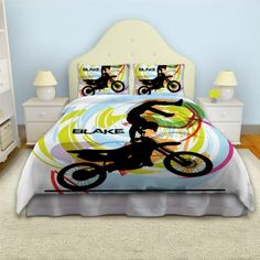 Kawasaki Dirt Track Bike Motorcycle Pcotton Twin Bed Quilt