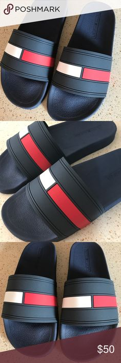 NEW Tommy Hilfiger Ernst Dark Blue Slippers Sz 13 NEW -Tommy Hilfiger Men Ernst Dark Blue Slippers Size 13 New In Box 100% Authentic Tommy Hilfiger Shoes Sandals & Flip-Flops
