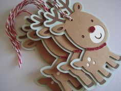 Christmas Gift tag Winter Gift Tag Rudolph by CraftyClippingsbyPeg