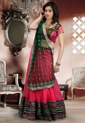 Pink Net Readymade Lehenga Comes With A Contrast Black & Pink Brocade Choli & Contrast Bottle Green Net Dupatta - Glowindian Ghagra Choli, Party Wear Lehenga, Sari, Skirts, Contrast, Pink, How To Wear, India, Night