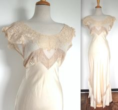 Vintage 1930's Nightgown // 30s 40s Cream Silk Satin Bias Cut Gown with Ecru Lace // Tie Back Lace Bridal Boudoir // Old Hollywood by TrueValueVintage on Etsy
