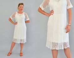 70s Crochet Lace Dress - Vintage Seventies Boho Crochet Dress Sheer White Dress Knee Length Short Sleeve Romantic Hippie Dress Size S