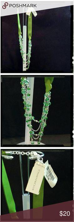 Charter Club Green Necklace NWT Charter Club necklace from Macy's. Green ribbon with multi strand clear green beads. Charter Club Jewelry Necklaces