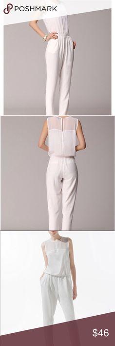 930450fc1ffb Zara White Sleeveless Jumpsuit Zara White Sleeveless Jumpsuit. Effortlessly  chic ✨. Sheer top with