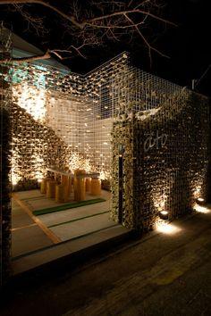 Cafe Ato by Design BONO, Seoul Gabion wall with floating stones. Deco Design, Cafe Design, Store Design, House Design, Landscape Architecture, Interior Architecture, Landscape Design, Garden Design, Exterior Design