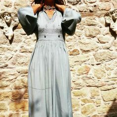 184c0314983c Vintage Gypsy Boho Hippe Grey Teal Maxi Long Sleep Dress with Embroidery  detail. Similar style to Free People. Available to buy on depop.com lev store  ...