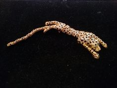 Leopard Reticulated Shoulder Pin, Gold Tone, with Rhinestones, Unsigned by MySimpleDistractions on Etsy