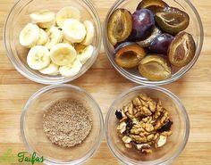 Smoothie de Prune și Nuci Stuffed Mushrooms, Deserts, Cocktails, Vegetables, Cooking, Food, Vegans, Diet, Stuff Mushrooms