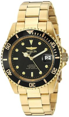 online shopping for Invicta Men's Pro Diver Analog Display Japanese Automatic Gold Watch from top store. See new offer for Invicta Men's Pro Diver Analog Display Japanese Automatic Gold Watch Stainless Steel Watch, Stainless Steel Bracelet, Cool Watches, Watches For Men, Men's Watches, Casual Watches, Stylish Watches, Wrist Watches, Fashion Watches