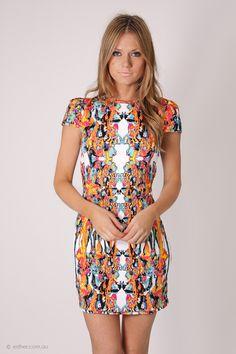 ZOMGG.  fairground cha cha dress- multi print